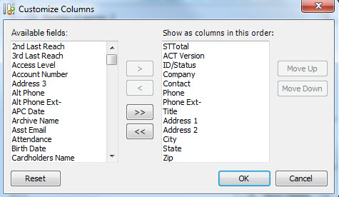 act contact list view columns